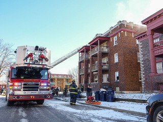 PICS: Crews work 3-alarm apt. fire in east KC