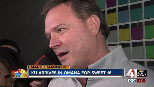 Jayhawks arrive in Omaha for Sweet 16