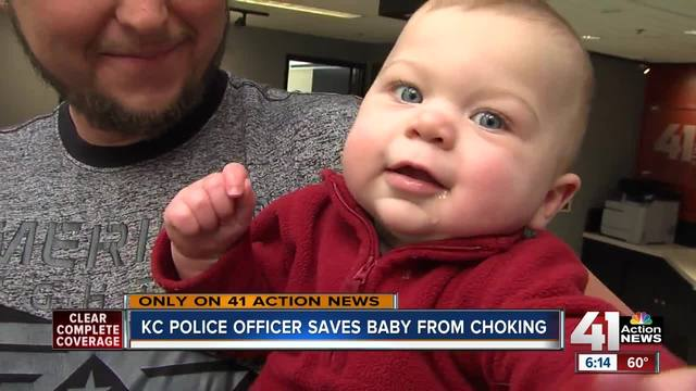 Kansas City mom meets officer who saved her son
