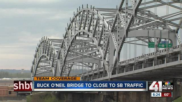 Find an alternate route- Southbound lanes of the Buck O-Neil Bridge are closing