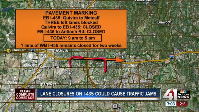 Traffic Alert: I-435 lanes closed in Johnson County ahead of evening